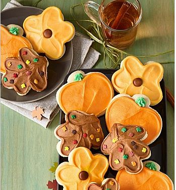 Buttercream Frosted Sunflower, Leaf and Pumpkin Cut-out Cookies