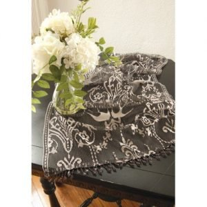 Downton Abbey Duchess Pewter Lace Table Runners With Trim