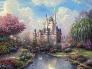 Thomas Kinkade a New Day At Cinderellas Castle Full Image