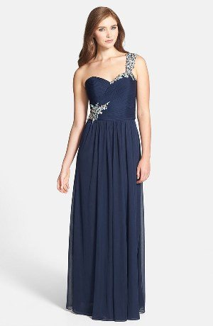 Xscape Beaded One-Shoulder Sheer Jersey Gown