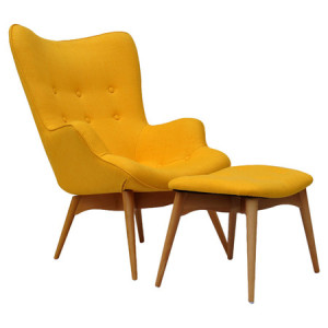 2-Piece Peggy Accent Chair & Ottoman Set in Yellow
