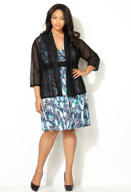 Abstract Floral Jacket Dress