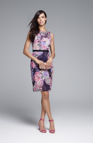 Adrianna Papell Print Illusion Yoke Chiffon Sheath Dress