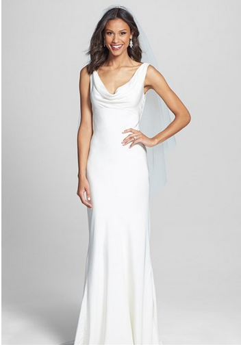 BLISS Monique Lhuillier Draped Neck Silk Crepe Wedding Dress