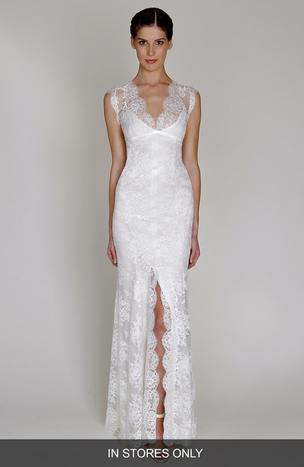 BLISS Monique LhuillierChantilly Lace Open BackWedding Dress