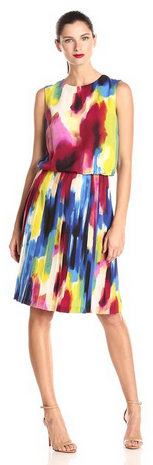 Donna Morgan Women's Sleeveless Rainbow-Print Dress