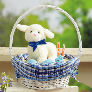 Easter Basket With Blue Plaid Liner