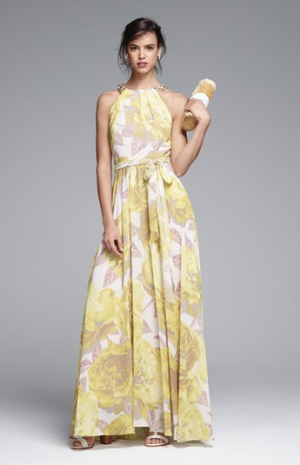 Eliza J Beaded Print Chiffon Maxi Dress