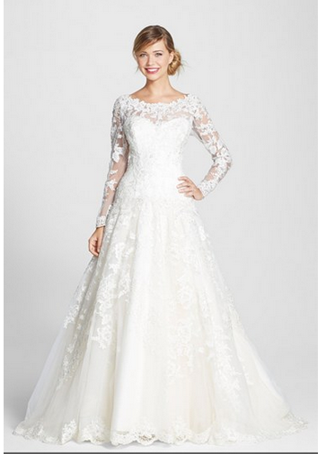James Clifford Long Sleeve Lace Ballgown