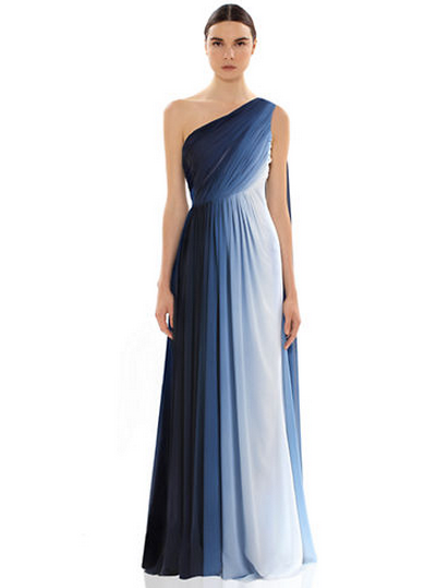 ML - MONIQUE LHUILLIER One Shoulder Gown