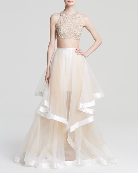 Marchesa Tulle Overskirt Embroidered Lace Dress2