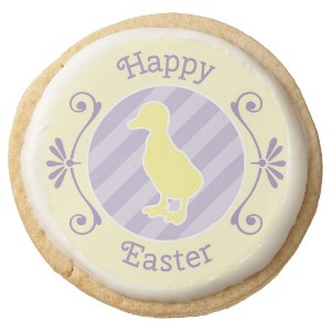 Purple Easter Duck Cookies Round Premium Shortbread Cookie from Zazzle