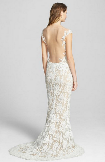 ReemAcra'Eve' Illusion Yoke Embroidered Lace Column Gown