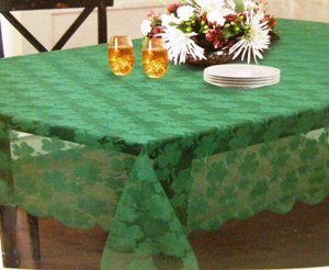 St. Patricks Day Green Lace Shamrock Tablecloth