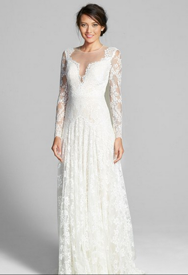 Watters 'Arcelia' Illusion Yoke A-Line Lace Gown