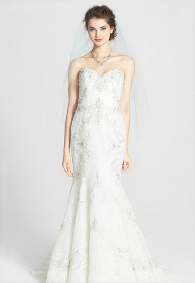 Watters 'Olina' Beaded Lace Mermaid Dress