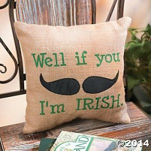 Well If You Mustache I'm Irish Burlap Bag Moustache St Patrick's Day Pillow Decor