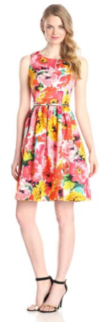 Eliza J Women's Sleeveless Belted Floral Print Dress