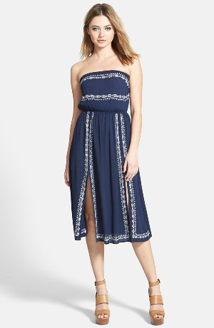 ASTR Embroidered Strapless Dress