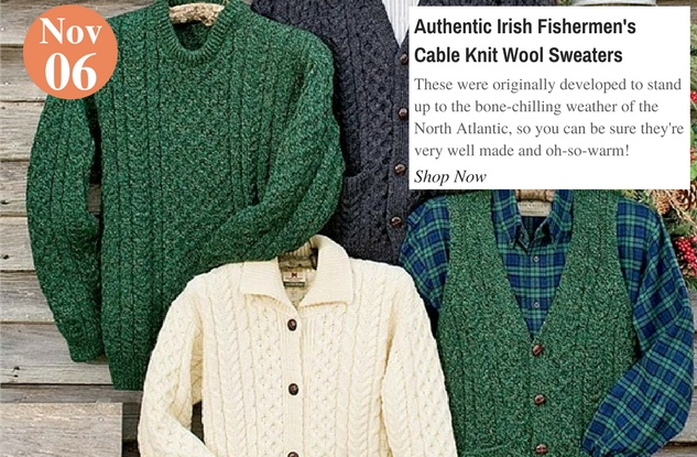 Authentic Irish Fishermen's Cable Knit Wool Sweaters