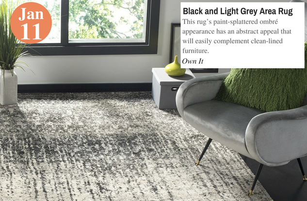Black and Light Grey Area Rug
