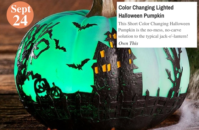 Color Changing Lighted Halloween Pumpkin