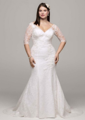 David's Bridal 3-4 Sleeve All Over Lace Trumpet Wedding Dress Style