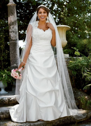 David's Bridal Cap Sleeved Satin Side-Draped A-Line Wedding Dress Style