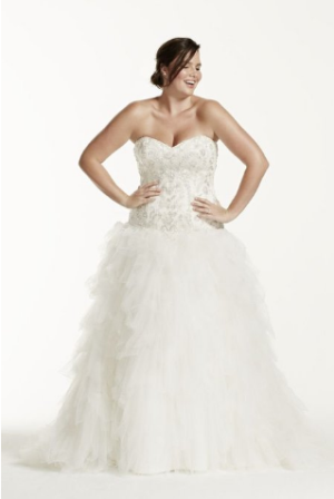 David's Bridal Strapless Tulle Ball Gown Wedding Dress with Ruffled Skirt Style