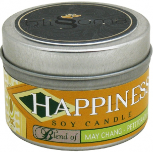 HAPPINESS AROMATHERAPY SOY CANDLE TRAVEL TIN