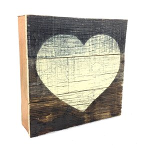 Heart - Reclaimed Tobacco Lath Art Sign