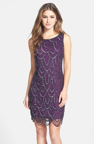 Pisarro Nights Embellished Mesh Cocktail Dress