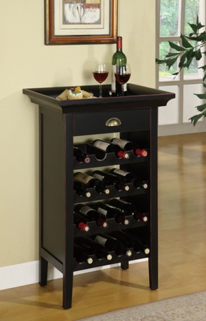 Powell Rub Through 16 Bottle Wine Cabinet