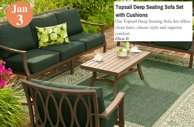 Topsail Deep Seating Sofa Set with Cushions
