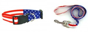 4th of July American Flag Adjustable Dog Collar and Leash