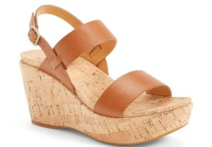 Kork-Ease® 'Austin' Leather Slingback Wedge Platform Sandal