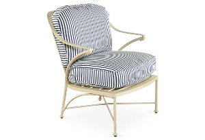 Ripple Small Stripe Lounge Chair, Navy
