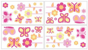 Butterfly Pink and Orange Wall Decals