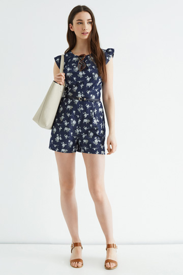 DITSY CHAMBRAY PLAYSUIT