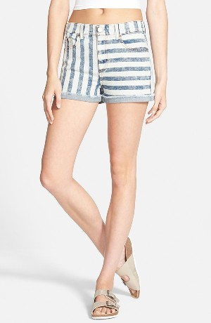 Fire Stripe High Waist Cuffed Shorts
