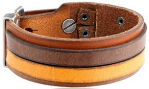 Fossil Men's Leather Two-Tone Bracelet