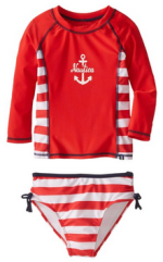 Nautica Big Girls' Anchor and Stripe Two-Piece Rashguard Swim Set