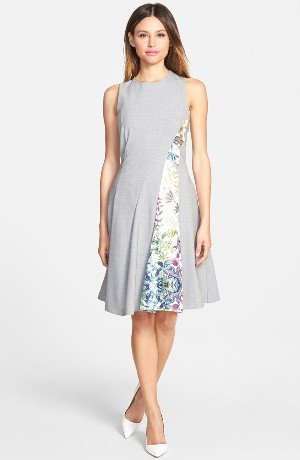 Pink Tartan 'Alvina' Print Panel Fit & Flare Dress
