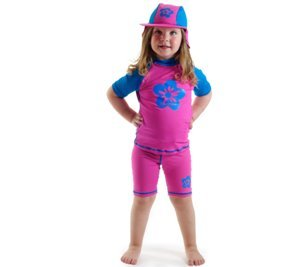 Pink-blue Sun Uv Protective Swimsuit Shirt & Pants