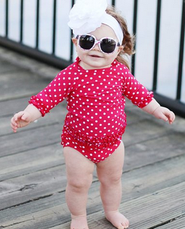 RuffleButts® Little Girls Polka Dot Ruffled Rash Guard Bikini