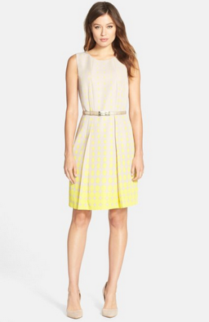 Tahari Belted Dot Print Fit & Flare Dress