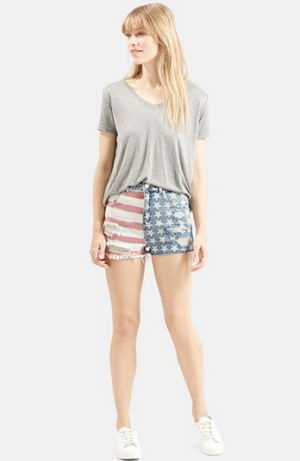 Topshop Flag Denim Mom Shorts
