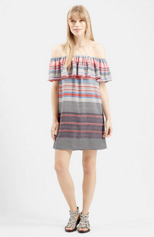 Topshop 'Sumi' Stripe Off the Shoulder Dress