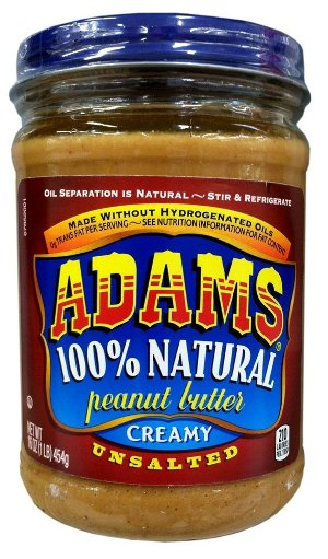 Adams 100 Natural CREAMY UNSALTED Peanut Butter