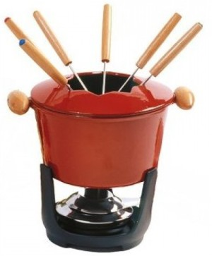 California Red Fondue Cast Iron Party Set